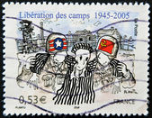 FRANCE - CIRCA 2005: A stamp printed in France dedicated to the liberation of Nazi concentration camps, circa 2005 — Stock Photo