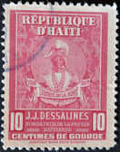 HAITI - CIRCA 1945: A stamp shows Jean Jacques Dessalines was a leader of the Haitian Revolution and the first ruler of an independent Haiti under the 1801 constitution — Stock Photo