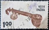 INDIA - CIRCA 1966: A stamp printed in india shows a sitar, Musical instruments, circa 1966 — Stock Photo