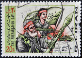 IRAN - CIRCA 1983: A stamp printed in Iran shows the preparation day, war, — Stock Photo