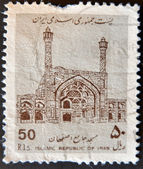 A stamp printed in Iran shows mosque — Stock Photo