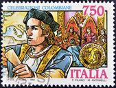 ITALY - CIRCA 1991: A stamp printed in Italy shows Christopher Columbus, circa 1991 — Stock Photo