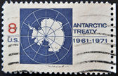 UNITED STATES OF AMERICA - 1971: A stamp printed in the United States of America shows image celebrating the Antarctic Treaty, series, 1971 — Stock Photo