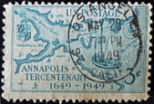 UNITED STATES - CIRCA 1949: Stamp printed by United states, shows Stoddert´s 1718 Map of Regions about Annapolis, Redrawn, circa 1949 — Stock Photo