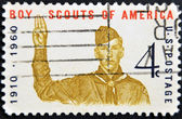 UNITED STATES - CIRCA 1960: A stamp printed in USA, shows Boy scout Giving scout sign, circa 1960 — Stock Photo