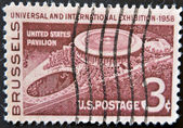 UNITED STATES - CIRCA 1958: stamp printed in USA, shows USA pavillion at Brussels, circa 1958 — Stock Photo