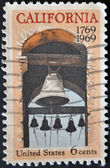 UNITED STATES OF AMERICA - CIRCA 1969: stamp printed in USA, shows Carmel mission belfry, California, circa 1969 — Stock Photo