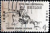 Usa - cca 1962: razítka, vytištěné ve spojených státech amerických ukazuje vojáka z americké občanské války v bitvě u shilohu, cca 1962 — Stock fotografie