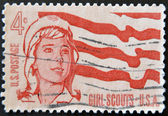 A stamp printed in the USA shows Girl Scouts — Stock Photo