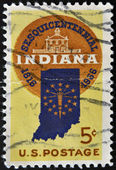UNITED STATES OF AMERICA - CIRCA 1966: a stamp printed in USA shows Map of Indiana and Old Capitol at Corydon, circa 1966 — Stock Photo