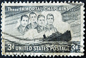 "UNITED STATES - CIRCA 1947: depicting SS Dorchester sinking, inscripted ""These Immortal Chaplains..."" & ""Interfaith in Action"", circa 1947 — Stock Photo"