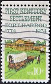 UNITED STATES OF AMERICA - CIRCA 1974: a stamp printed in the United States of America shows Fort Harrod the first Kentucky settlement west of Alleghenies — Stock Photo