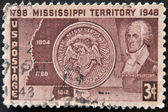 USA - CIRCA 1948: A stamp printed in the USA dedicated to mississippi territoy showing Winthrop Sargent, circa 1948 — Stock Photo