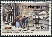 Winter tijdverdrijf lithografie door n. currier 1855 — Stockfoto