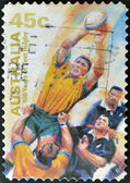 Stamp shows Rugby — Stock Photo