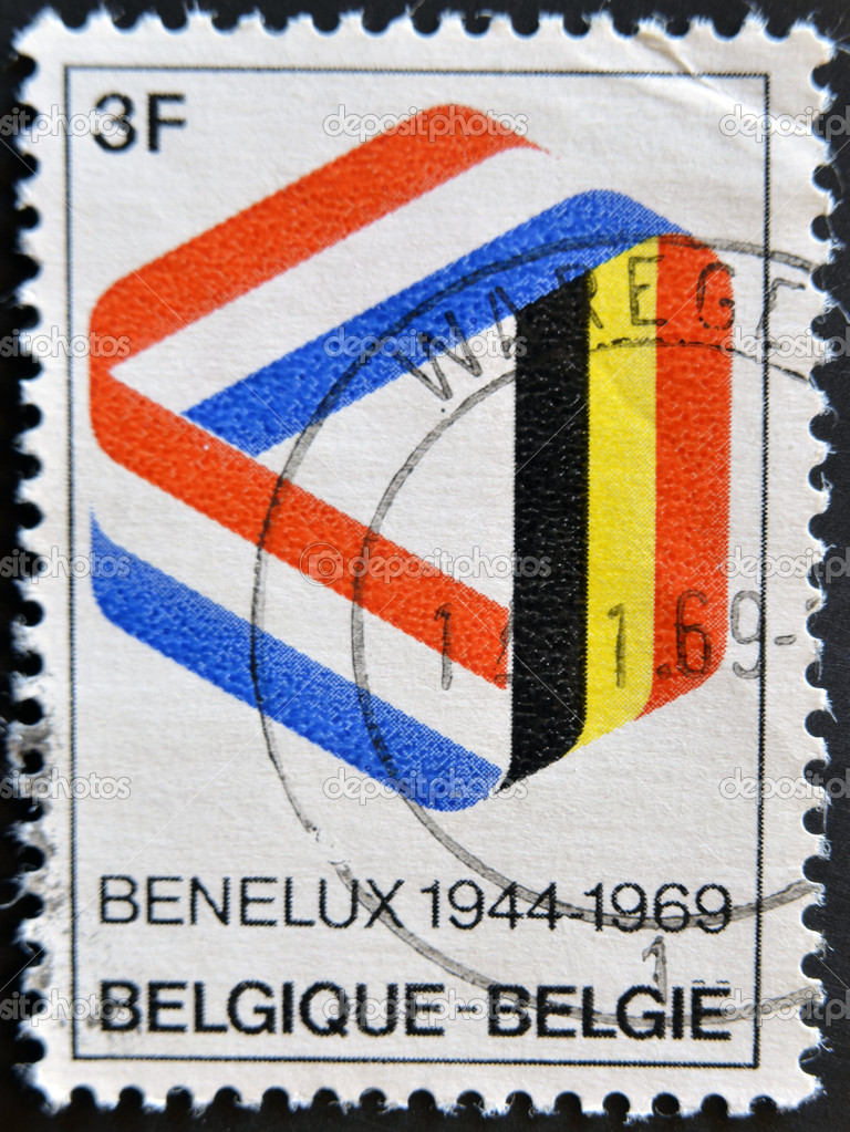 BELGIUM - CIRCA 1969: Postage stamp published in Belgium commemorating 25 years of the Benelux, economic union of Belgium, Netherlands, Luxembourg, circa 1969 — Stock Photo #9181095