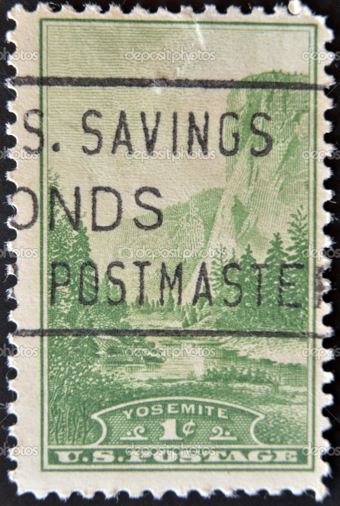 UNITED STATES OF AMERICA - CIRCA 1934: A stamp printed in USA shows Yosemite National Park, circa 1934 — Stock Photo #9183082