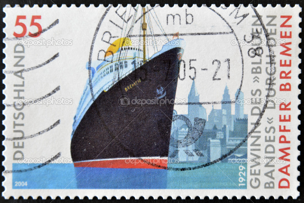 GERMANY - CIRCA 2004: a stamp printed in Germany shows image of the steamship Bremen, circa 2004  Stock Photo #9183122