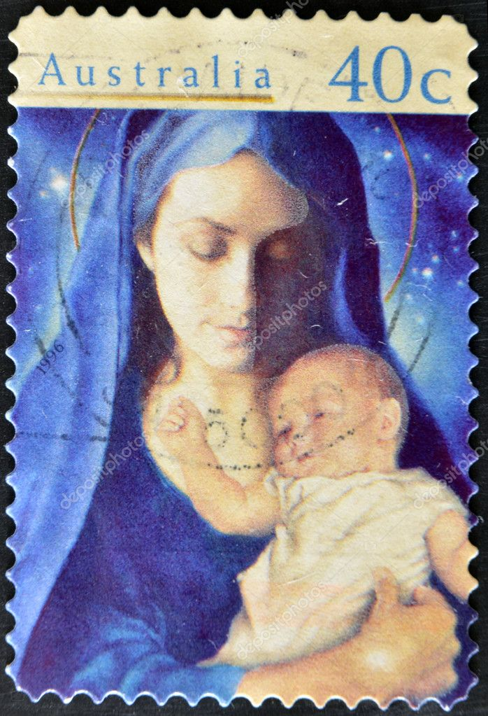 AUSTRALIA - CIRCA 1996: stamp printed by Australia, shows Madonna and Child, circa 1996  Stock Photo #9183146