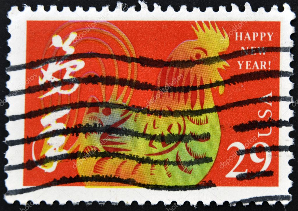 UNITED STATES - CIRCA 1992 : stamp printed in USA, shows year of the rooster, circa 1992  — Stock Photo #9183426
