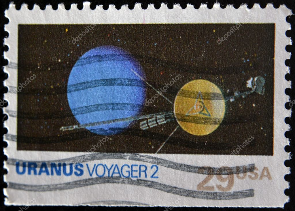 A stamp printed in USA shows uranus voyager 2, circa 1991 — Stock Photo #9188336