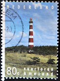 Stamp shows lighthouse at the island Ameland, — Stock Photo