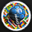 Stamp shows ball-shaped relation to the football world cup — Stock Photo