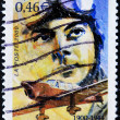 Stamp shows author of Little Prince, Antoine de Saint-Exupéry — Stok Fotoğraf #9354103
