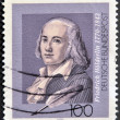 Stock Photo: GERMANY - CIRC1993: stamp printed in Germany shows Friedrich Holderlin, lyric poet, circ1993