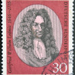 Stock Photo: GERMANY - CIRC1966: stamp printed in Germany shows Gottfried Wilhelm Leibniz, philosopher and mathematician, circ1966