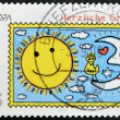 GERMANY - CIRCA 2008: A stamp printed in Germany shows the sun and the moon with the birds, circa 2008 — Stock Photo