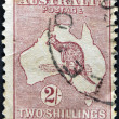 AUSTRALIA - CIRCA 1913: A stamp printed in Australia shows the Kangaroo and Map, circa 1913 — Stock Photo