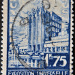 BELGIUM - CIRCA 1935: A stamp printed in Belgium dedicated to the Universal Exhibition in Brussels, circa 1935 - Stockfoto