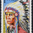 CZECHOSLOVAKIA - CIRCA 1966: A stamp printed in Czechoslovakia shows a picture of native American Indian chieftain with feather headband, circa 1966 — Stock Photo