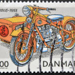 Stock Photo: DENMARK - CIRC2002: stamp printed in Denmark shows motorcycle, nimbus 1953, circ2002