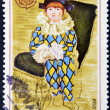 "FRANCE - CIRCA 1975: A stamp printed in France shows the work ""Paul the harlequin"" by Pablo Picasso, circa 1975 — Stock Photo"