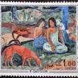 Stock Photo: FRANCE - CIRC1968: stamp printed by France, shows Areare(Merriment) by Paul Gauguin, circ1968