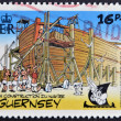 GUERNSEY - CIRCA 1992 : stamp printed in Guernsey shows bullet in the construction of an Egyptian ship, belonging to the comic Asterix and Obelix, circa 1992 — Foto Stock