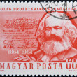 HUNGARY - CIRCA 1964: A stamp printed in Hungary shows image of Karl Marx, famous communism sociologist, circa 1964 — Stock Photo