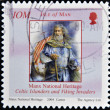 Stock Photo: ISLE OF MAN - CIRC2004: stamp printed in Isle of Mshows celtic islanders and viking invaders, circ2004