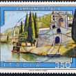 A stamp printed in Italy shows sample of Italian — Stock Photo