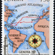 ITALY - CIRCA 1992: A stamp printed in Genoa dedicated to Columbus Celebrations shows map of the voyage of Columbus Circa 1992 — Stock Photo