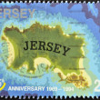 JERSEY - CIRCA 1994: A stamp printed in Jersey shows Map of Jersey, circa 1994 — Stock fotografie