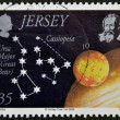 Stock Photo: JERSEY - CIRCA 2009: A stamp printed in Jersey shows the ursa major and cassiopeia, circa 2009