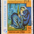 LAOS-CIRCA 1989: A stamp printed in the Laos shows painting maternity by Pablo Picasso, circa 1989 — Stock Photo