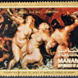 "MANAMA (AJMAN)- CIRCA 1972: A stamp printed in the Manama shows painting ""Debarkation of Marie de Medici at Merseilles"" by Peter Paul Rubens, detail, circa 1972 - Stock Photo"
