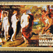 "MANAMA (AJMAN)- CIRCA 1972: A stamp printed in the Manama shows painting ""The judgement of Paris"" by Peter Paul Rubens, detail, circa 1972 — Foto de Stock"