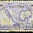 MEXICO - CIRCA 1915: A stamp printed in Mexico shows map of mexico with the rail network, circa 1915 — 图库照片