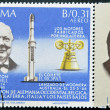 PANAMA - CIRCA 1966: stamp printed by Panama, shows Sir Winston Churchill and rocket Europa1, circa 1966 — Stock Photo