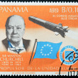Stock Photo: PANAM- CIRC1966: stamp printed by Panama, shows Sir Winston Churchill and rocket Blue streak, circ1966